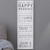 Rules For Happy Marriage Personalized Canvas..