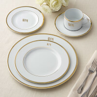 Pickard Signature Gold Monogrammed 5 Piece China..