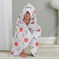 All About Sports Personalized Kids Hooded Bath..