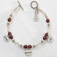 Personalized Charm Bracelet - Love, Grandma, Joy
