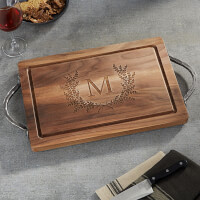 Maple Leaf Engraved Walnut Cutting Board With..