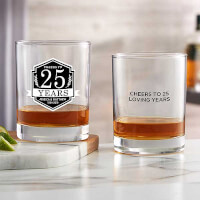 Anniversary Personalized 14 Oz Whiskey Glass