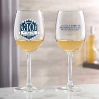 Anniversary Personalized 12 Oz White Wine Glass