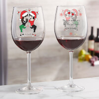 Christmas Best Friends Personalized Red Wine Glass