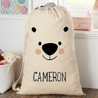 Bear Icon Personalized Kids Laundry Bag