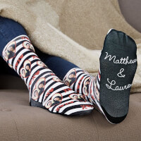 XOXO Personalized Romantic Photo Socks