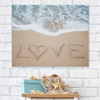 Beach Love Personalized Canvas Tile Board - 20x30