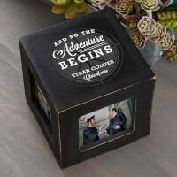 Graduation Compass Personalized Photo Cube - Black
