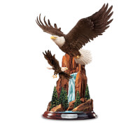 Height Of Majesty Hand-Painted Eagle Sculpture..