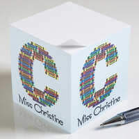 Personalized Teacher Notepad Cubes - Crayon Letter