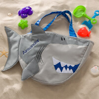 Personalized Shark Beach Tote Bag With Beach Toy..