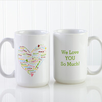 Personalized Large Coffee Mugs For Mom - Heart..