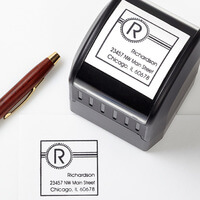 Personalized Address Stamp - Square Initial