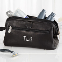 Personalized Toiletry Bag - Black Leather