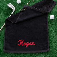 Black Personalized Golf Towel With Embroidered..