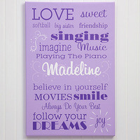 Girls Personalized Canvas Art 20x30 - Her Life