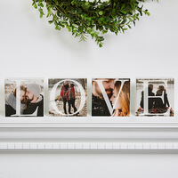 LOVE Personalized Photo Shelf Blocks - Set Of 4