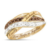 18K Gold-Plated Mocha & White Diamond Ring With..