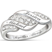 Cascade Of Love Diamond Ring With Engraved Names