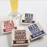 Personalized Tumbled Stone Coasters - Beer Quotes