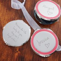 Personalized Silver Compact Mirror - Pink Accent