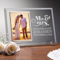Personalized Glass Wedding Frames - Happy Couple..