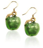 Green Apple Charm Earrings In Gold