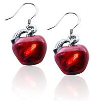 Red Apple Charm Earrings In Silver