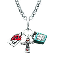 Shopper Mom Charm Necklace In Silver