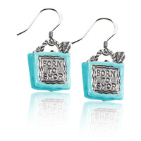 Born To Shop Charm Earrings In Silver