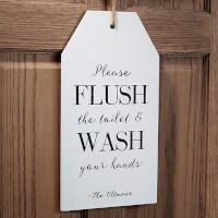 Personalized Funny Bathroom Wall Art Wood Tags