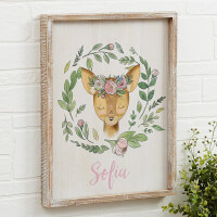 Woodland Floral Deer 14x18 Personalized Rustic..