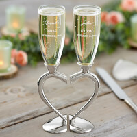 Personalized Wedding Flutes - Connected Hearts