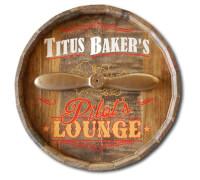 Pilots Lounge Quarter Barrel Sign