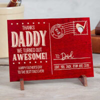 Sending Love To Dad Personalized Red Wood Postcard