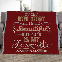 Love Story Personalized 56x60 Woven Throw