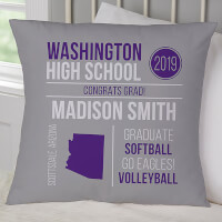Graduation State Personalized 18-Inch Throw Pillow