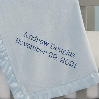 Write Your Own Embroidered Blue Baby Blanket
