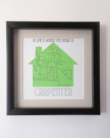 Personalized Line Art Map Frame - Home Is Where..