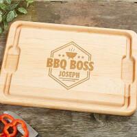 BBQ Boss Personalized Maple Cutting Board - 12x17