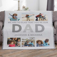 Glad Youre Our Dad Personalized 56x60 Woven..