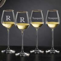Olivia & Oliver Madison Engraved Gold White Wine..