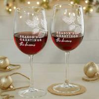 Festive Foliage Christmas Engraved 19oz Red Wine..