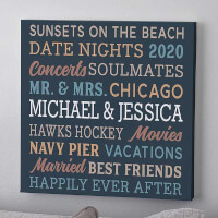 Relationship Memories Personalized Canvas Print..