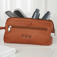 Embroidered Brown Leather Dopp Kit Travel Bag