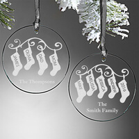 Stocking Family Personalized Glass Ornament