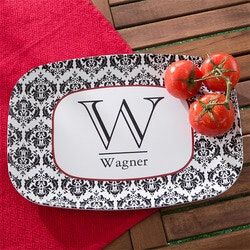 Personalized Melamine Serving Platter - Damask