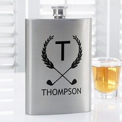 Personalized Christmas Gifts for Husband:Personalized Premium Pocket Flask - Golf Pro