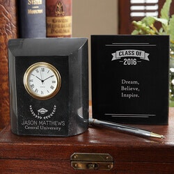 Personalized Marble Desk Clock - Graduation
