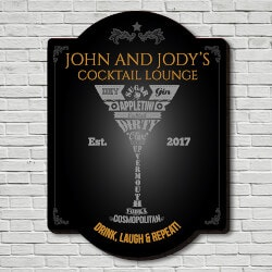 Wine Gifts:Modern Martini Personalized Sign